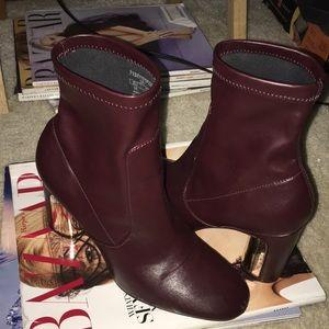 Zara Maroon Boot Heel
